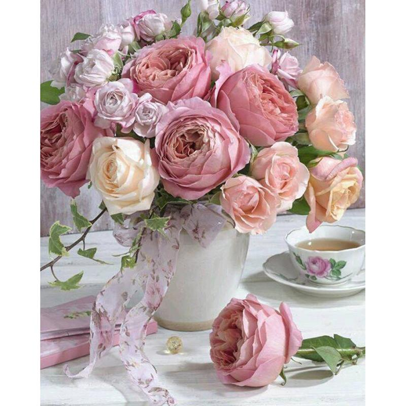 Full SquareRound Drill 5D DIY Diamond Painting Pink Roses Embroidery