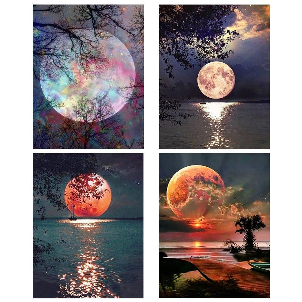 Moon Rhinestones DIY 5D Cross Stitch Full Square Round Diamond Painting