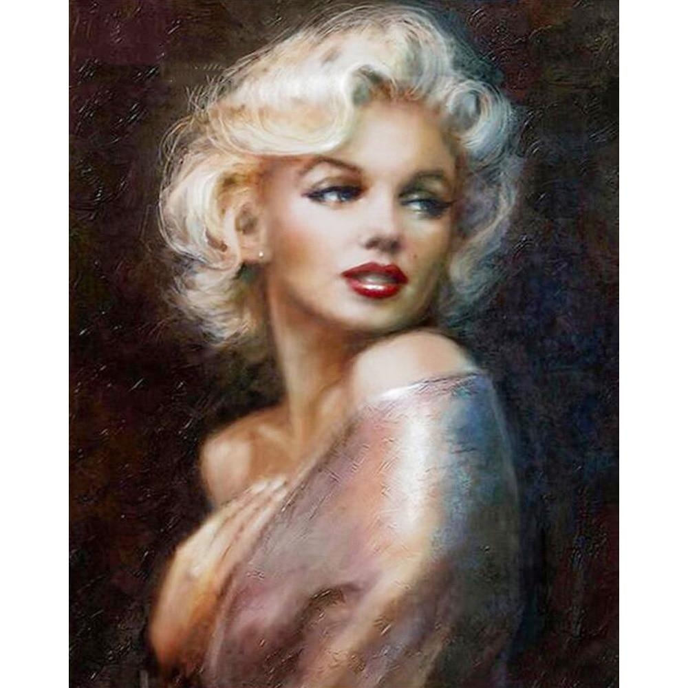 Marilyn Monroe Embroidery DIY 5D Cross Stitch Full Square Round Diamond Painting