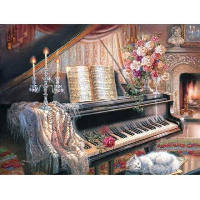 Piano DIY 5D Cross Stitch Full Square Round Diamond Painting