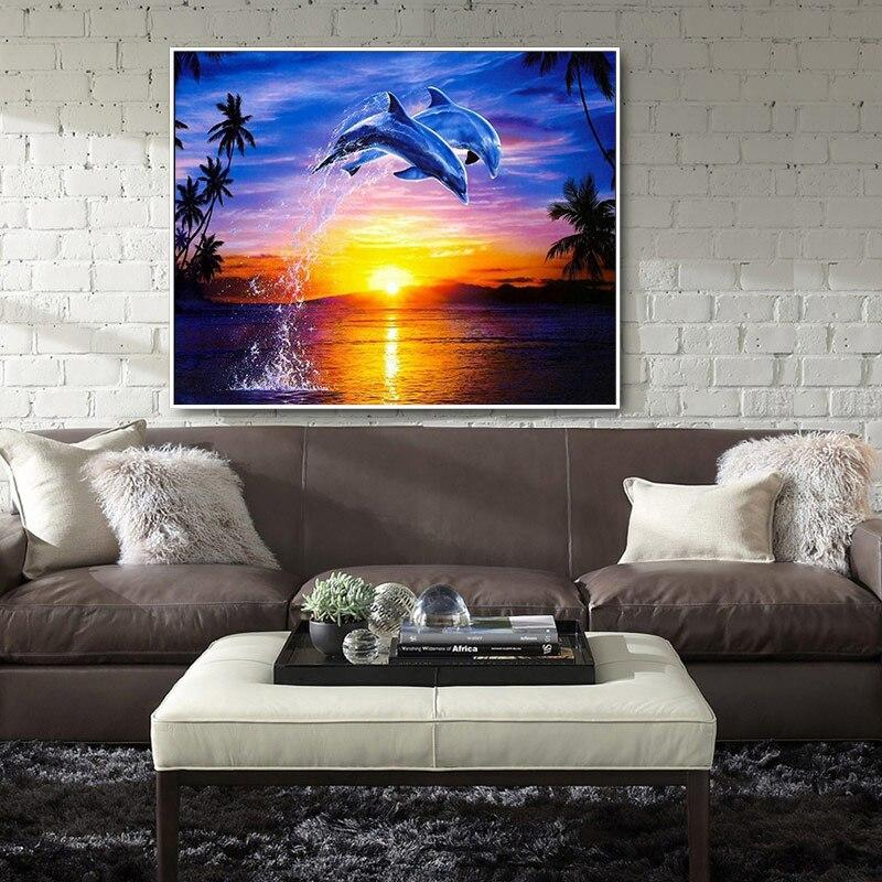 Scenic Sunset And Dolphin DIY 5D Cross Stitch Full Square Diamond Painting