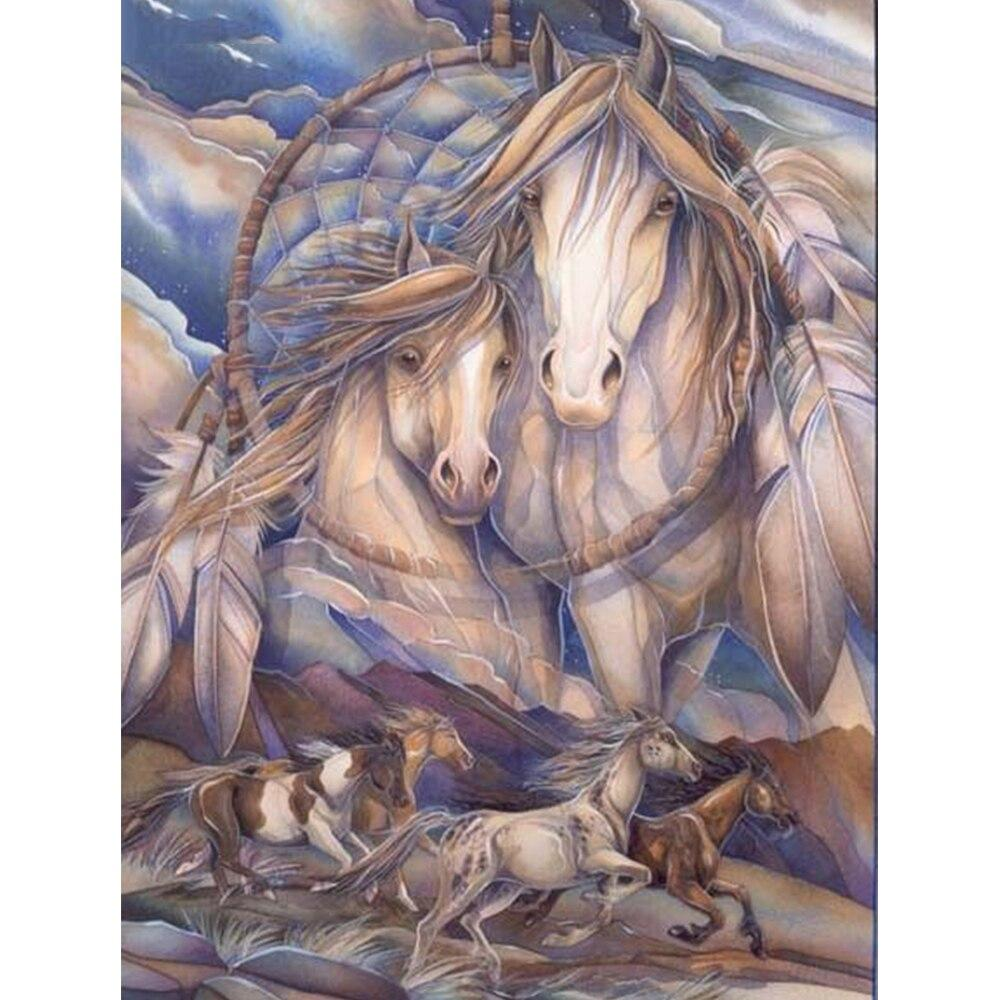 5D DIY diamond painting hot sale animal diamond embroidery floating horse rhinestone pictures