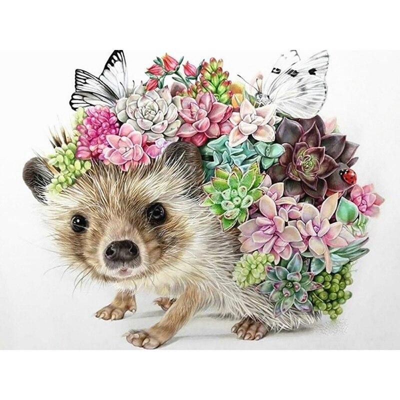 Animal Full Square Diamond Mosaic Sale Hedgehog Picture Of Rhinestones Flower Diamond Embroidery