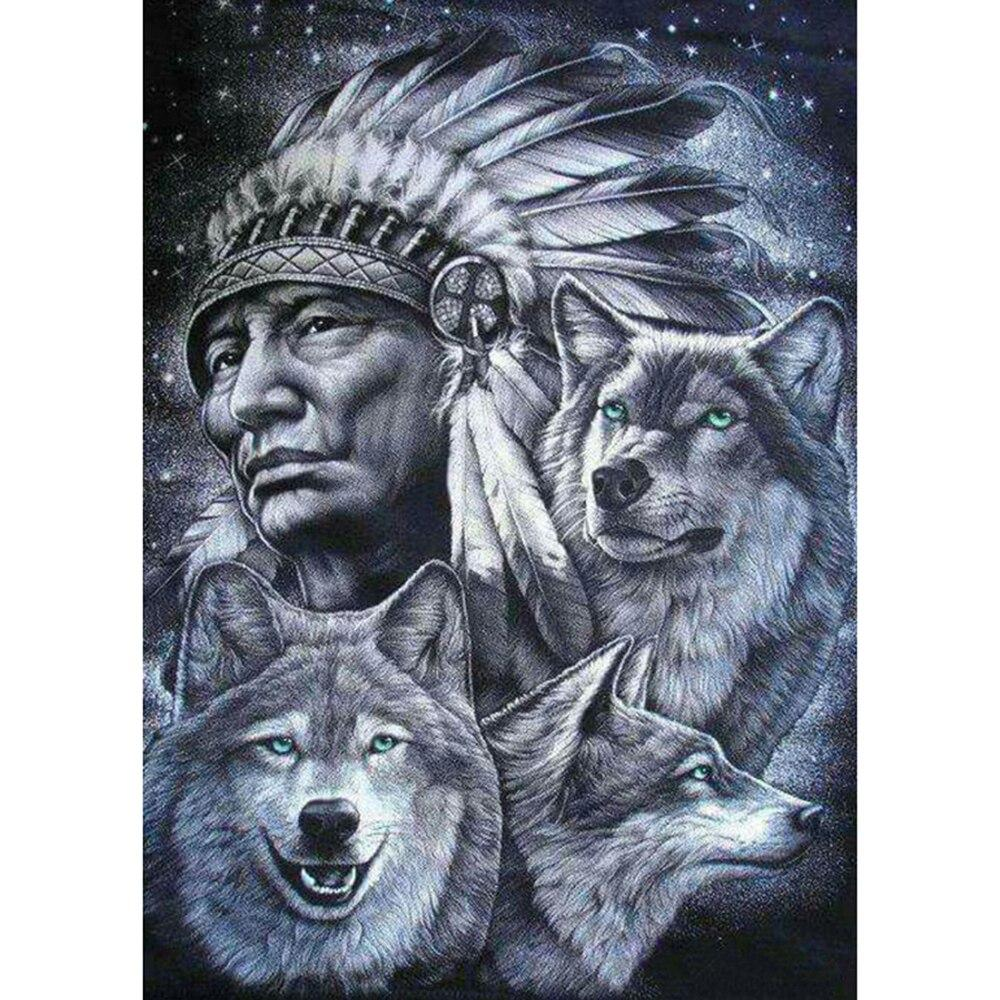 Full SquareRound Drill 5D DIY Diamond Painting Man wolf Embroidery Cross Stitch 5D Home Decor
