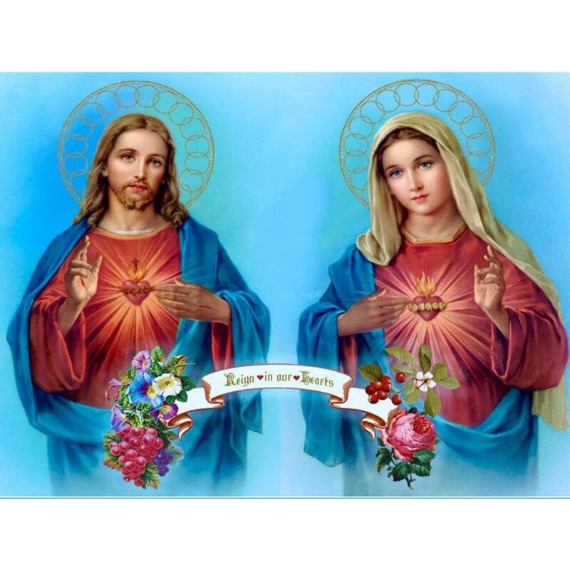 Jesus & Madonna 5d diy diamond painting cross stitch full square