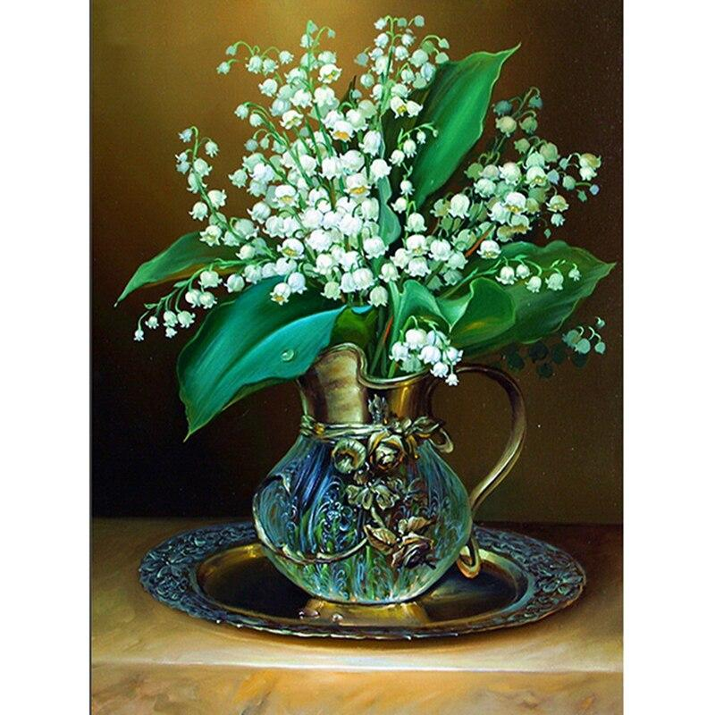 5D Full Diamond Painting Cross Stitch White Gypsophila diy Diamond Embroidery