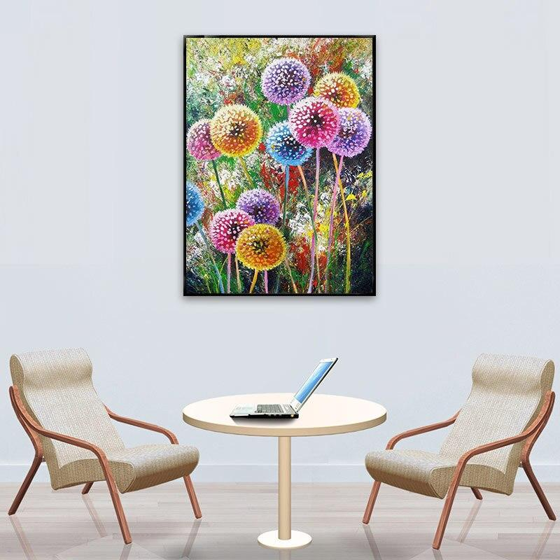 Full SquareRound Drill 5D DIY Diamond Painting Colored dandelion Embroidery