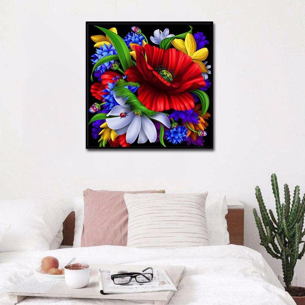 5d diy diamond embroidery Large Red Daisy diamond painting