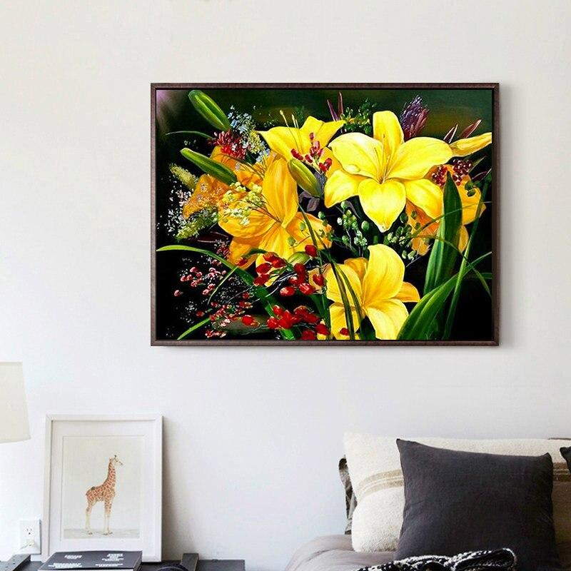 5D DIY Diamond Painting Painted Yellow Flower Arrangement Mosaic Embroidery