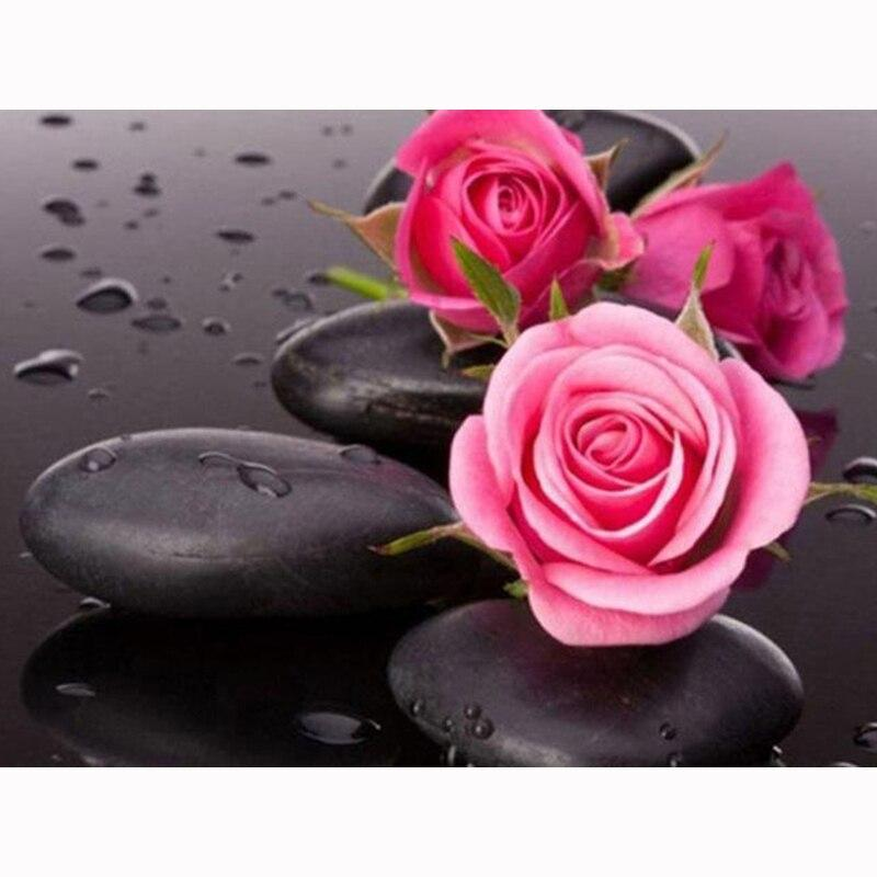 Diy Diamond Embroidery Rose & Black Stones Rhinestone Cross Stitch