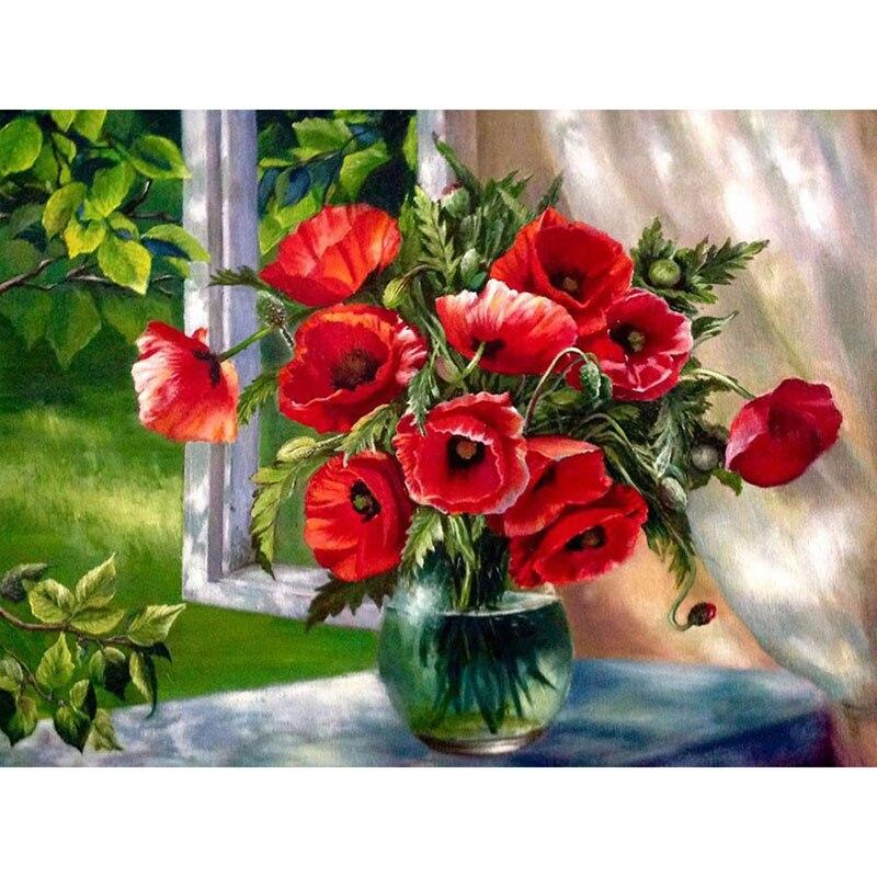 5D Diamond Embroidery Red Flowers Handmade Gift Full Sets Diamond Painting