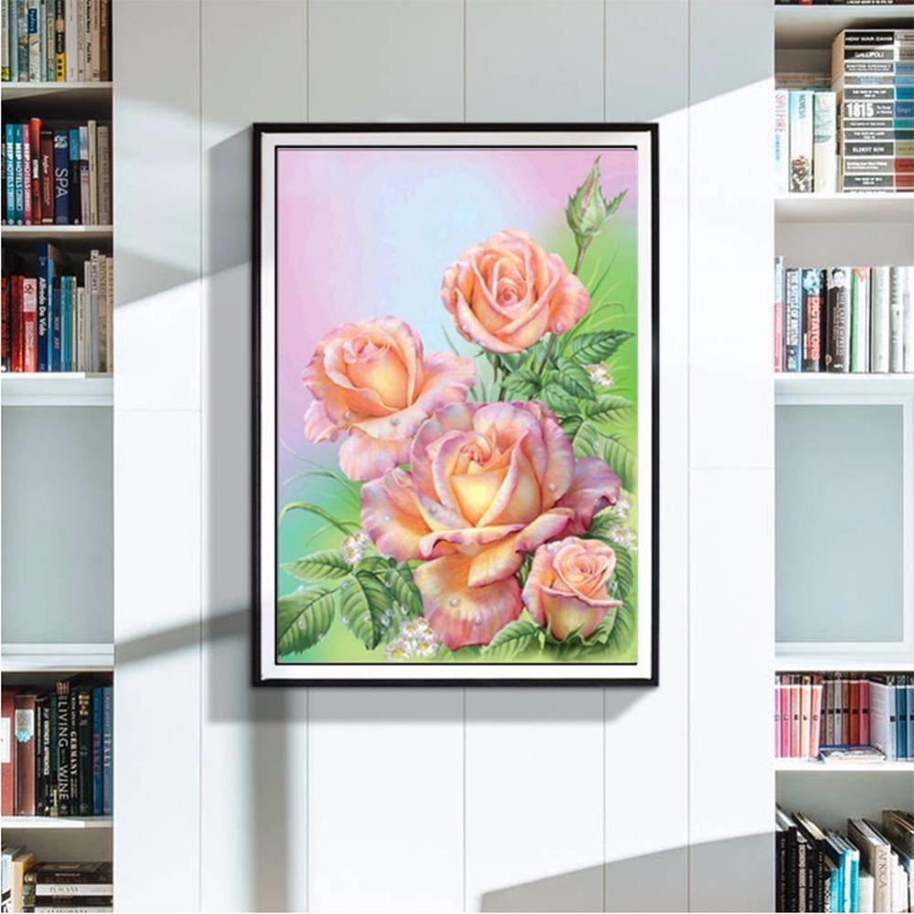 Icon Diamond Embroidery Pink Blooming Rose Mosaic Crystal 5D Cross Stitch Full Diamond Painting