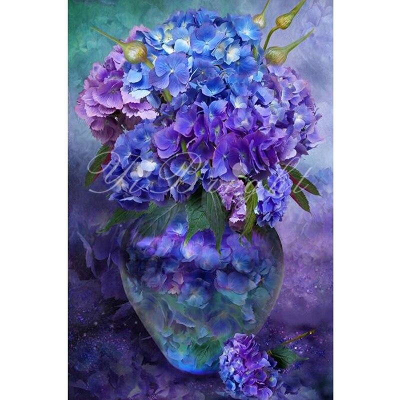 Handicrafts 5D Diy Blue Flowers In Glass Bottle Diamond Painting