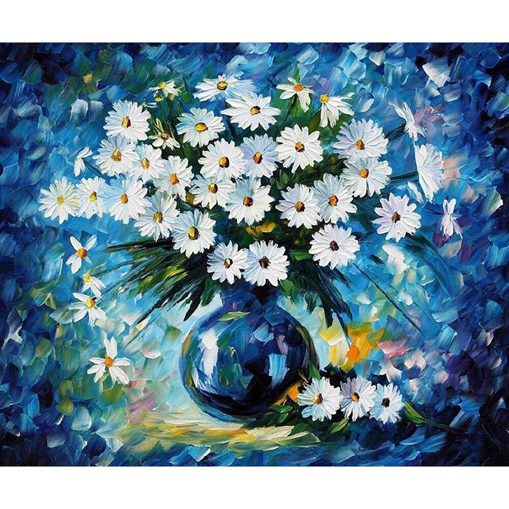 5D DIY Diamond Embroidery White Daisy Cross Stitch Full SquareRound Diamond painting
