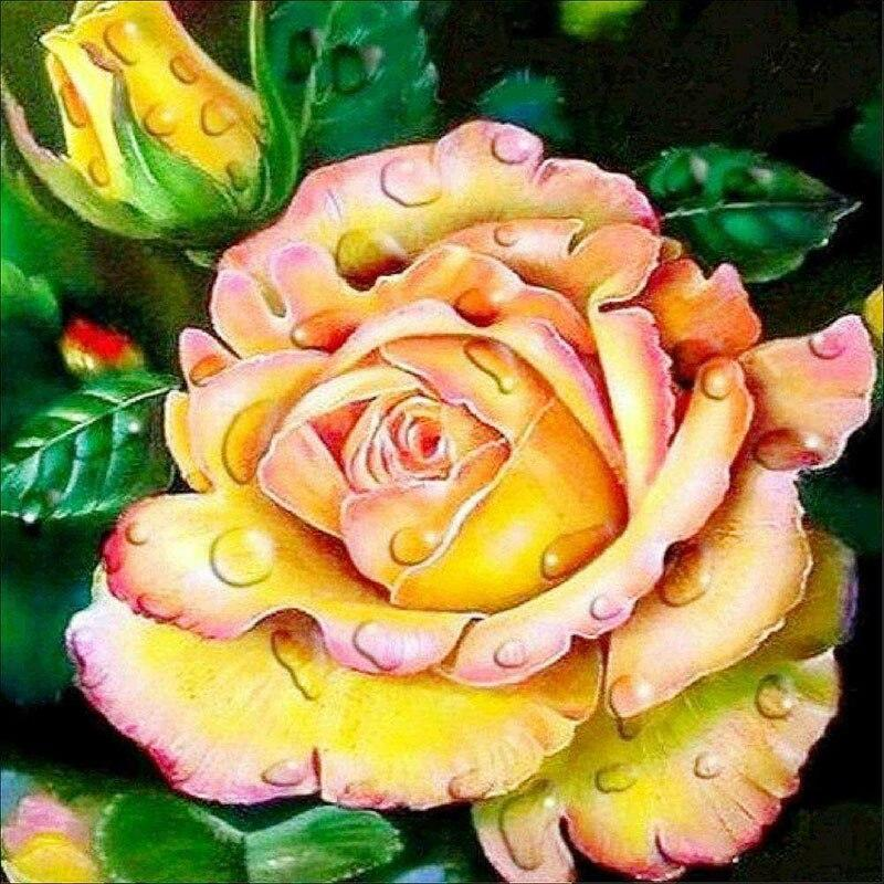 5D Diy Full Square Diamond Painting Cross Stitch Yellow Rose Diamond Embroidery