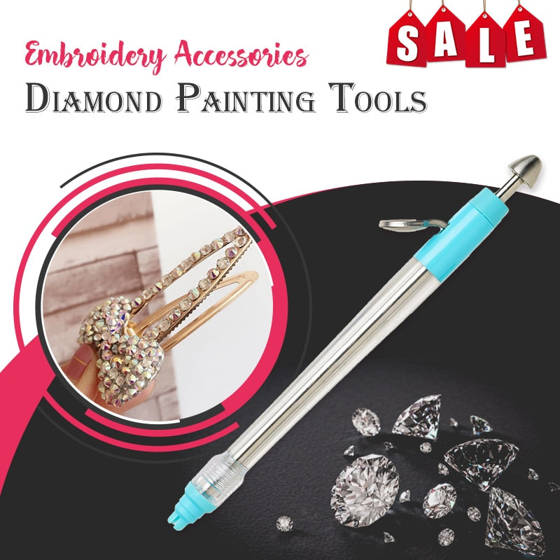 5D Diamond Painting Pen & 2000 Crystals Kit Tool Blue and Pink Pen Embroidery Accessories DIY