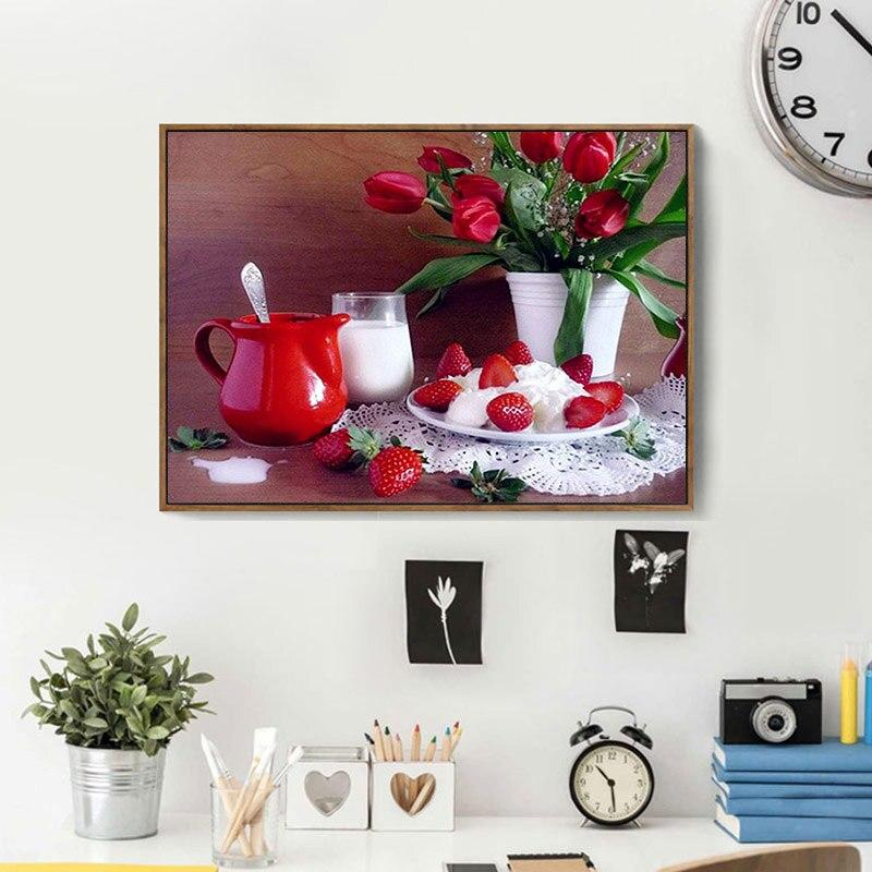 Cup Red Rose Strawberry DIY 5D Cross Stitch Full Square Diamond Painting