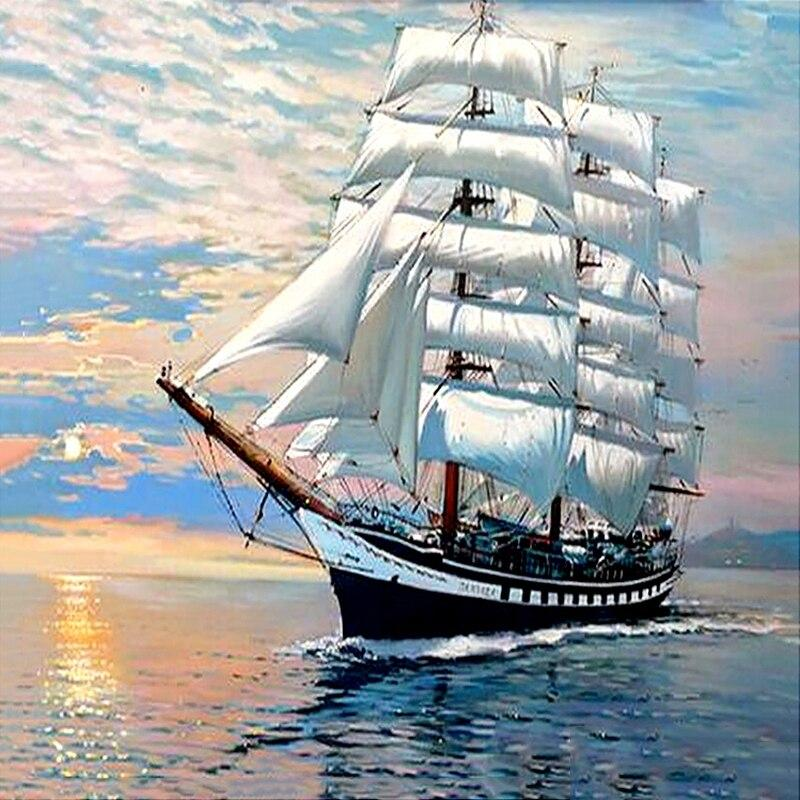 Ship sailing DIY 5D Cross Stitch Full Square Diamond Painting