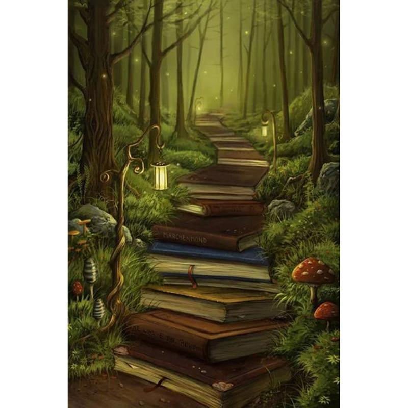 Book Forest DIY 5D Cross Stitch Full Square Diamond Painting