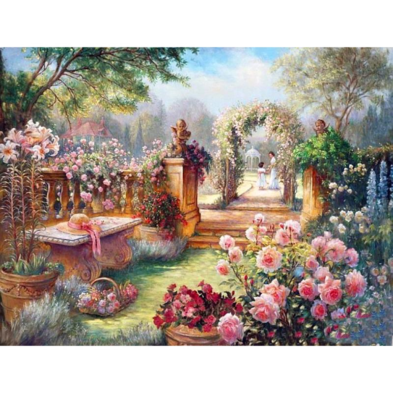 Garden Landscape DIY 5D Cross Stitch Full Square Diamond Painting