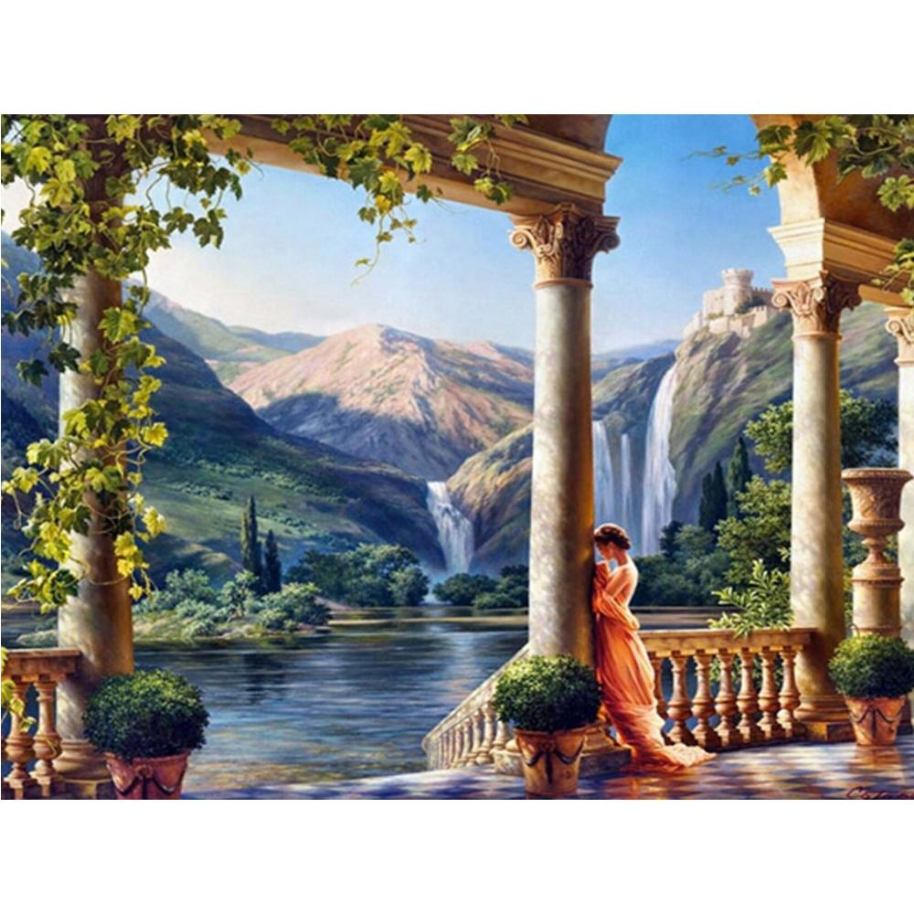 Rome Castle Princess Mountain Waterfall DIY 5D Cross Stitch Full Square Diamond Painting