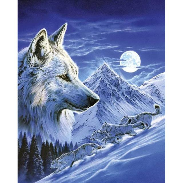 Mountian Wolf DIY 5D Cross Stitch Full Square Round Diamond Painting