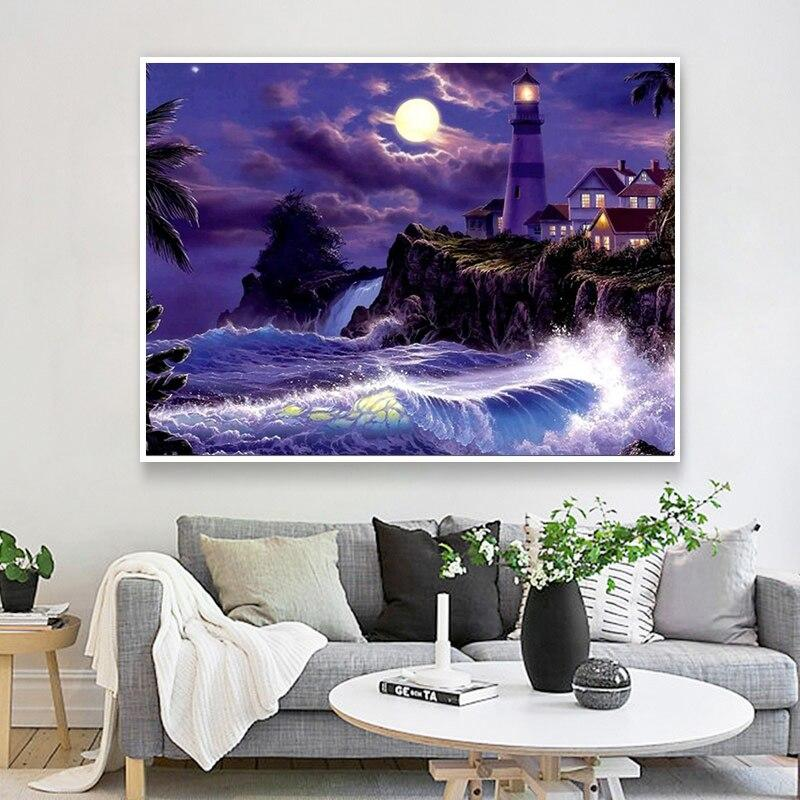 Scenic Lighthouse DIY 5D Cross Stitch Full Square Diamond Painting