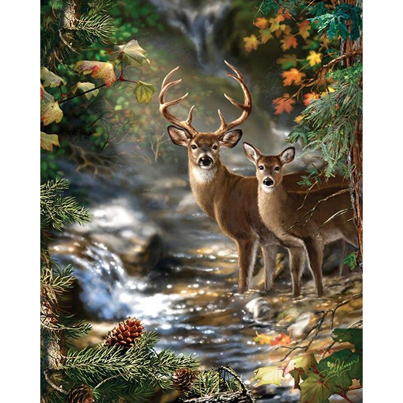 Deer In River DIY 5D Cross Stitch Full Square Diamond Painting