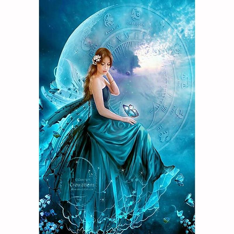 Blue Moon Fairy DIY 5D Cross Stitch Full Square Diamond Painting