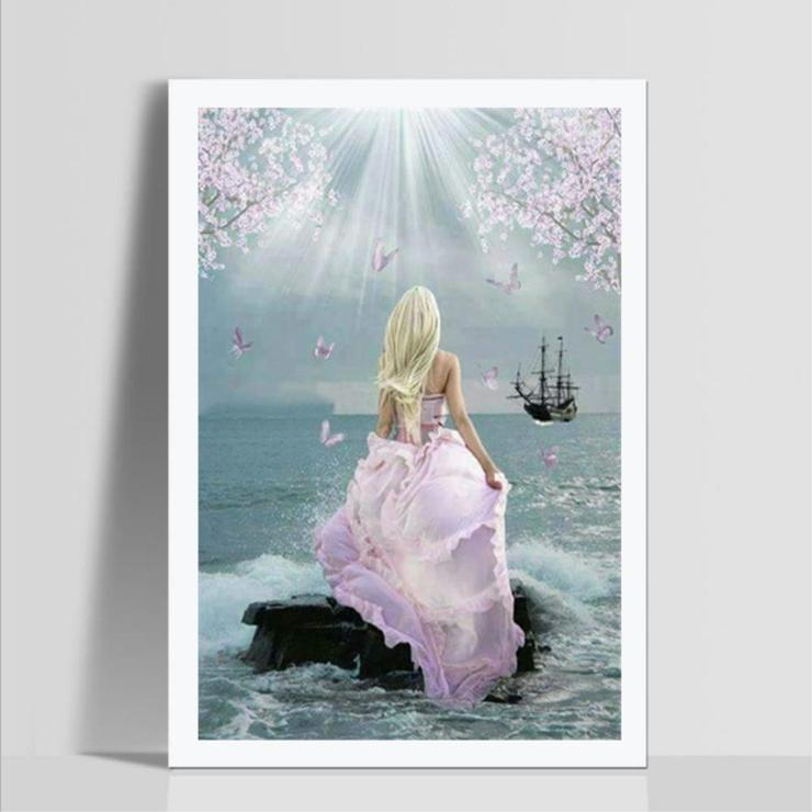 Pink Dress Beauty DIY 5D Cross Stitch Full Square Diamond Painting