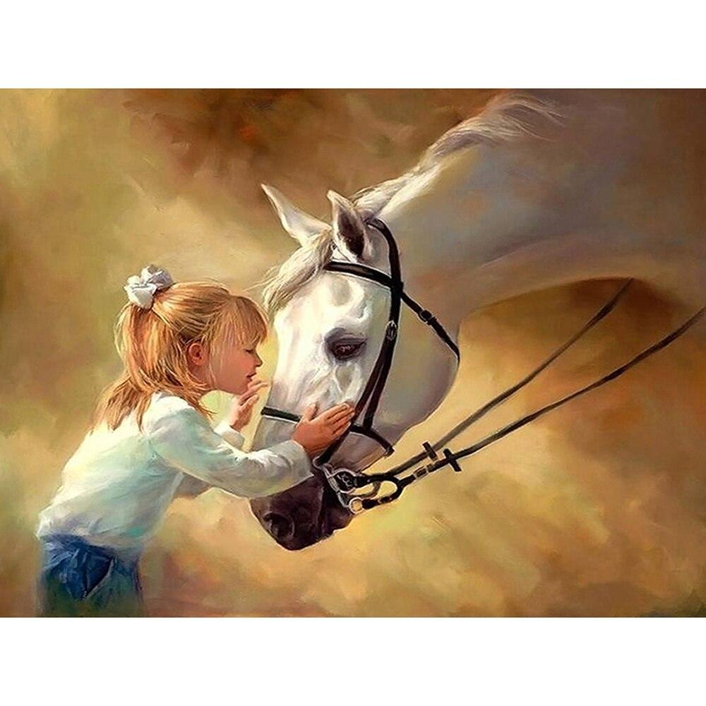 Girl With Horse DIY 5D Cross Stitch Full Square Diamond Painting