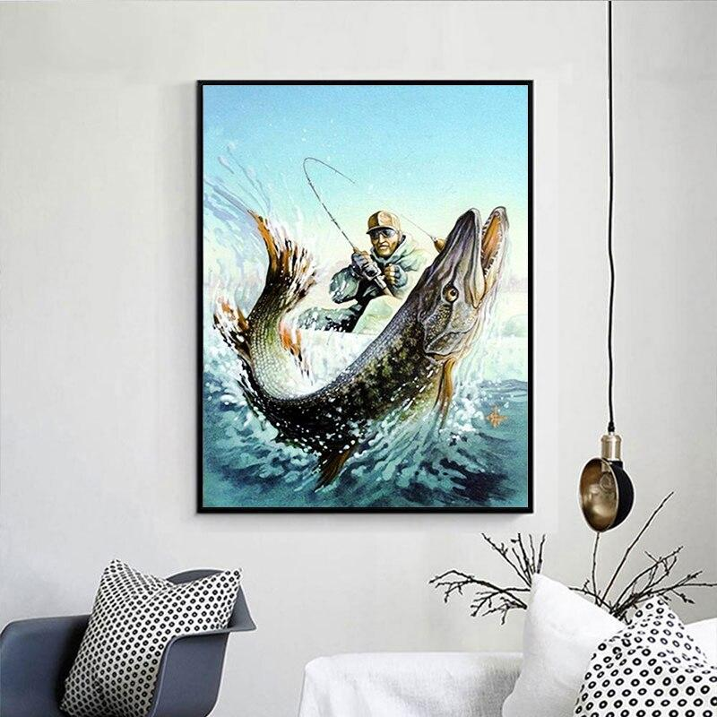 Fishing Man DIY 5D Cross Stitch Full Square Diamond Painting