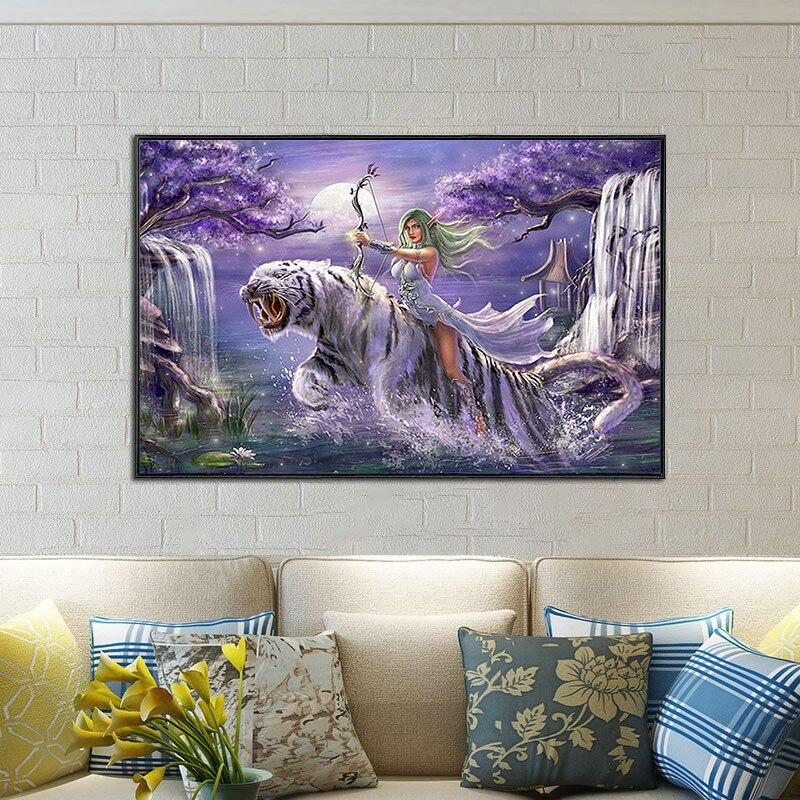 Beauty & Tiger DIY 5D Cross Stitch Full Square Diamond Painting