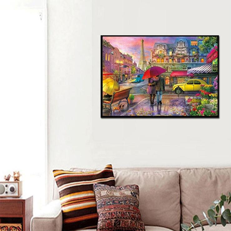 Couples In Rain DIY 5D Cross Stitch Full Square Diamond Painting