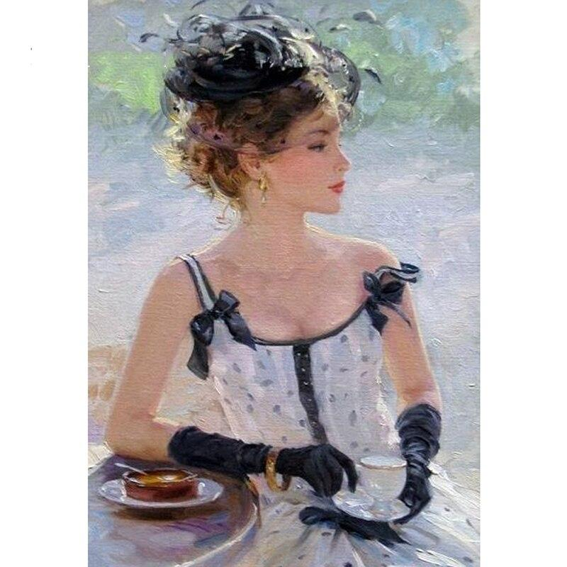 Elegant Woman Lady DIY 5D Cross Stitch Full Square Diamond Painting