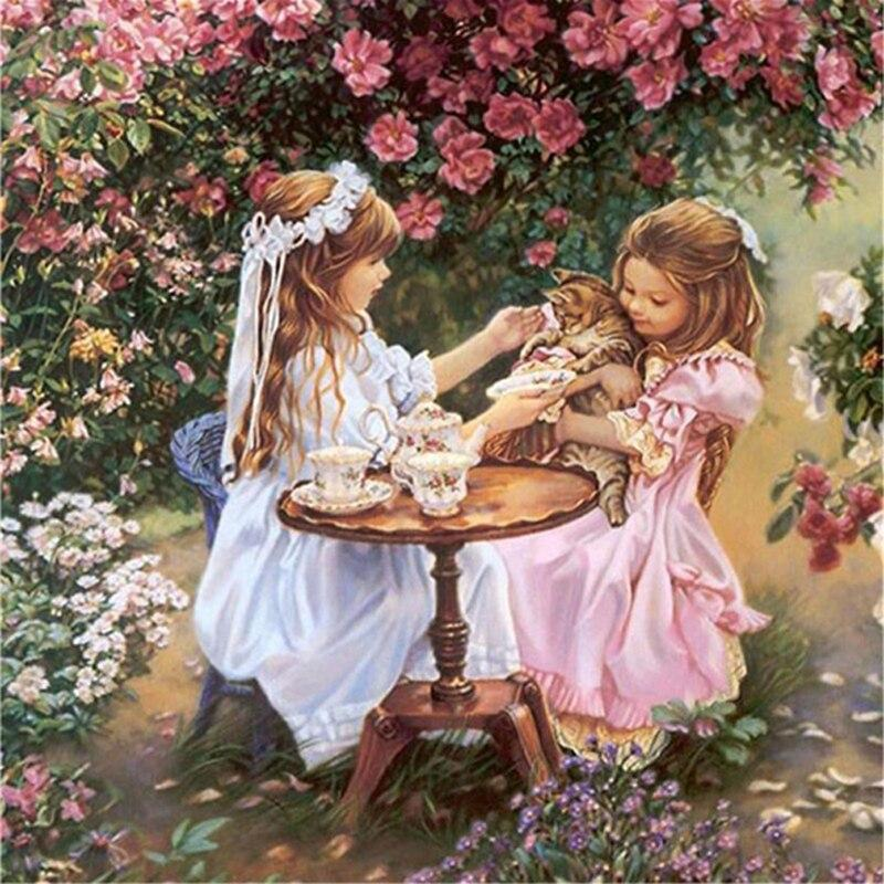 Sisters With Cat DIY 5D Cross Stitch Full Square Diamond Painting