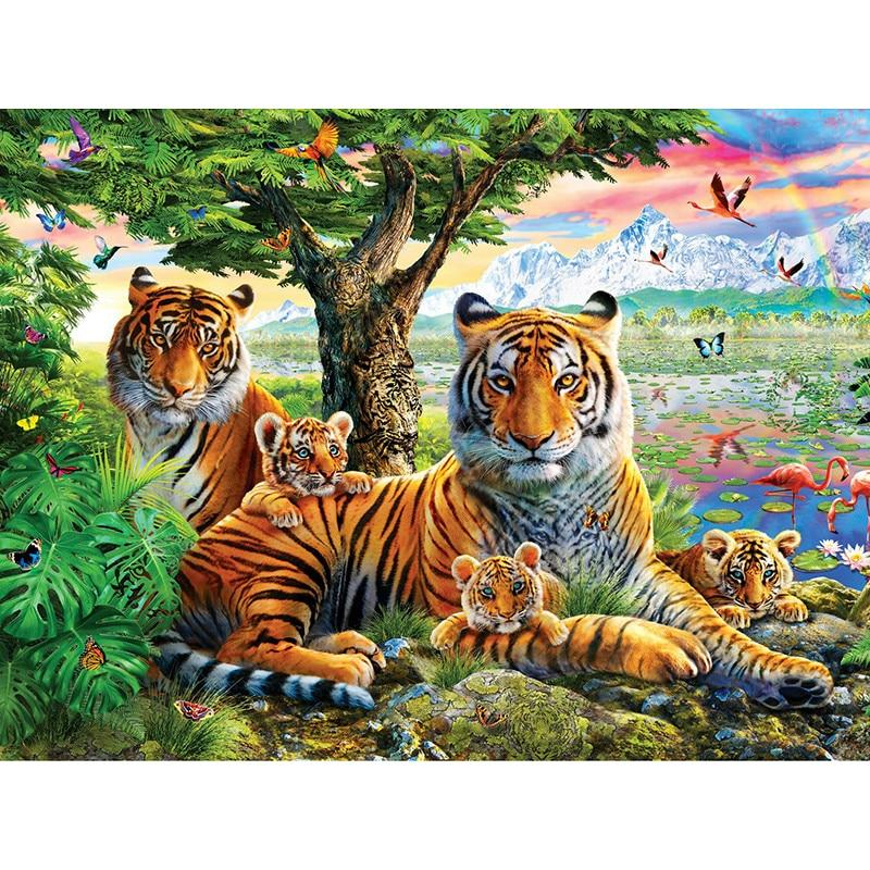 Tiger Family DIY 5D Cross Stitch Full Square Round Diamond Painting