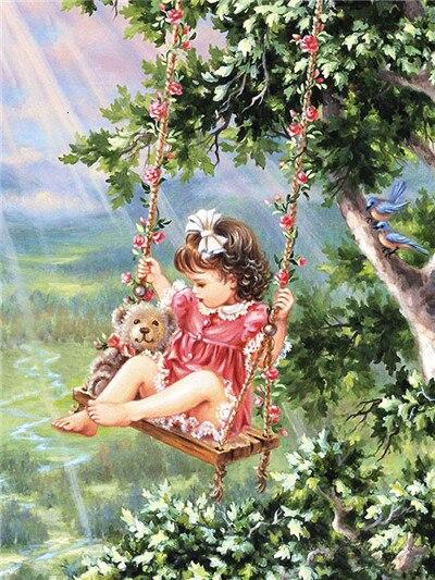 Child Diamond DIY 5D Cross Stitch Full Square Round Diamond Painting
