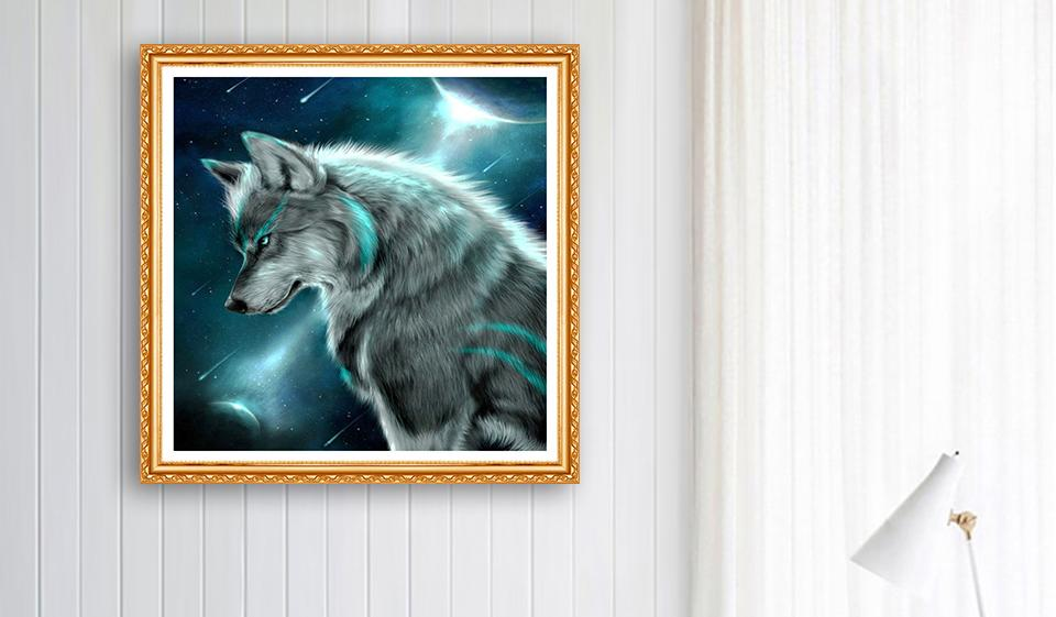 animal Wolf picture DIY 5D Cross Stitch Full Square Round Diamond Painting