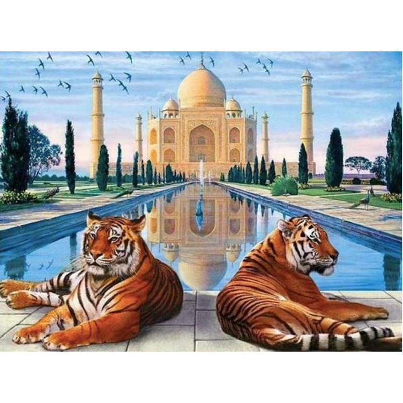 Taj Mahal & Tigers DIY 5D Cross Stitch Full Square Round Diamond Painting