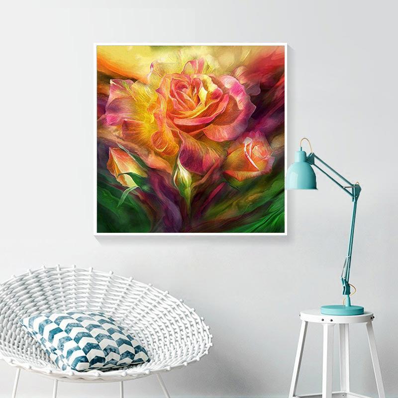 Abstract Flower DIY 5D Cross Stitch Full Square Round Diamond Painting