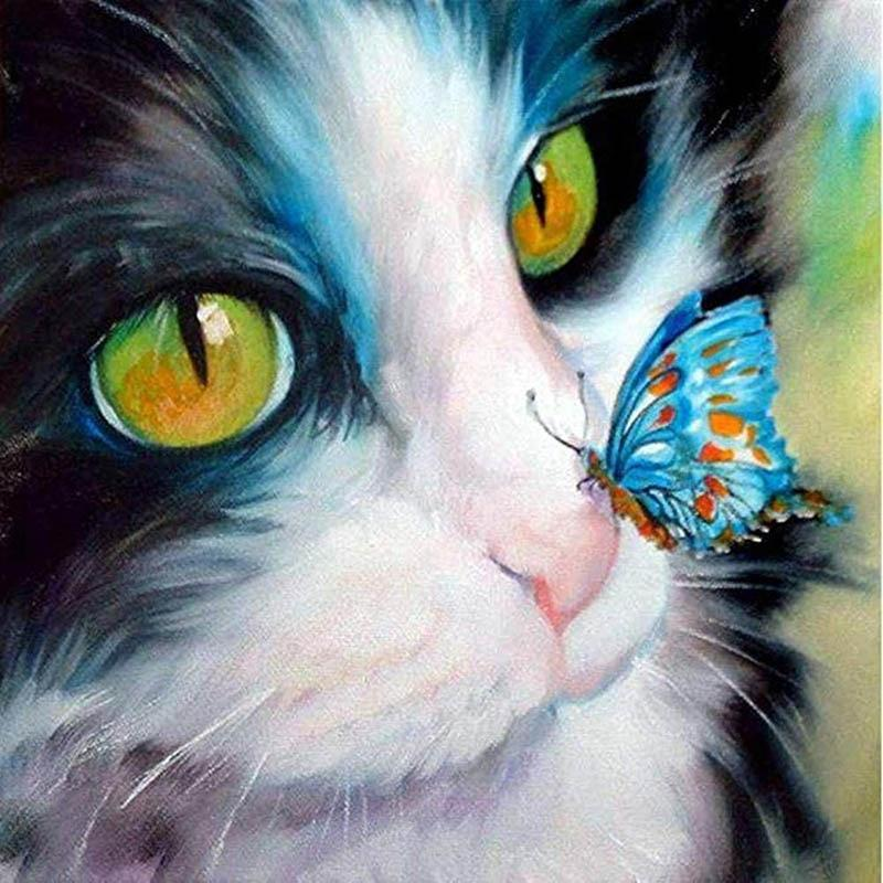 Cat & Butterfly DIY 5D Cross Stitch Full Square Round Diamond Painting