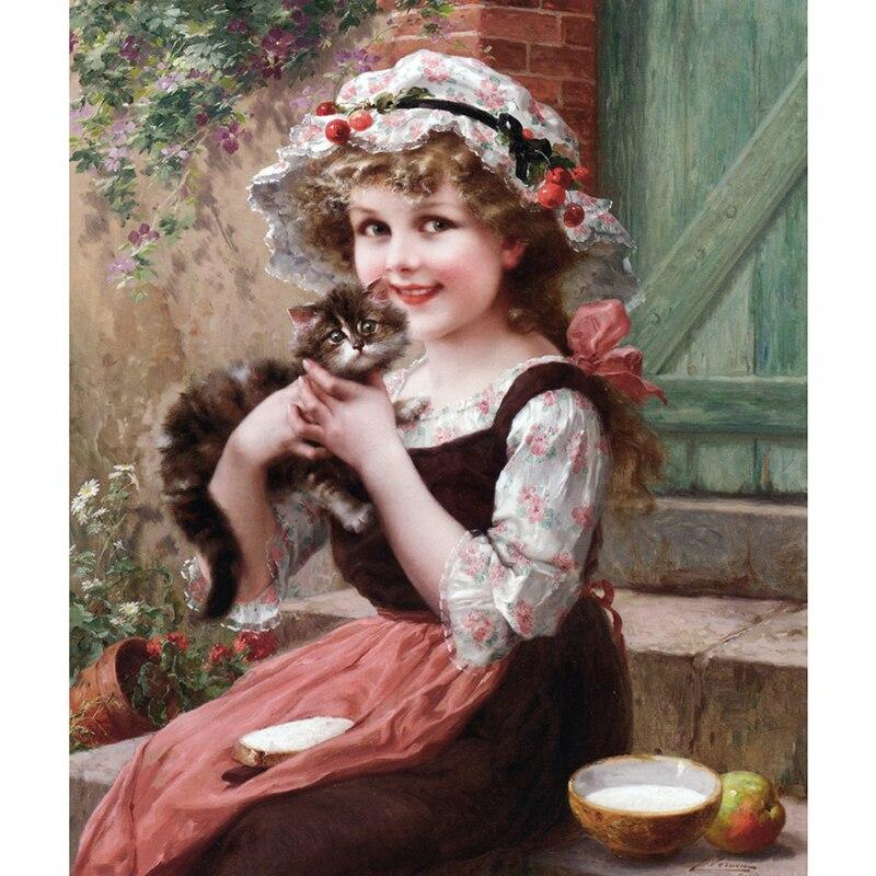 Little girl and cat DIY 5D Cross Stitch Full Square Diamond Painting