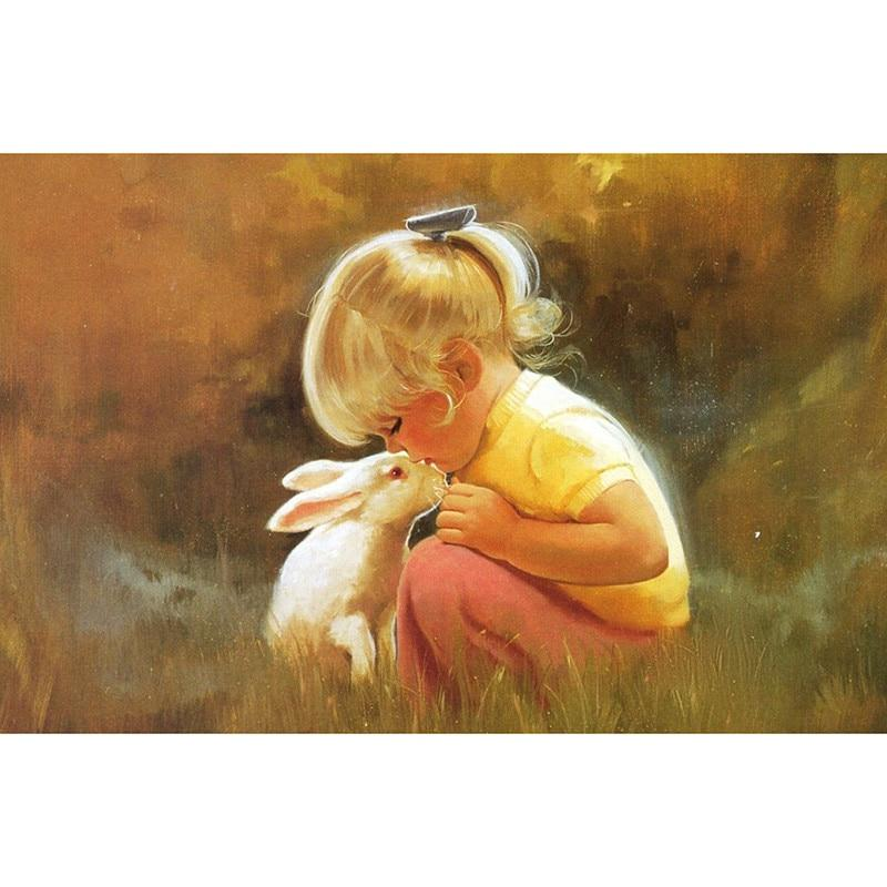 Little Girl and Rabbit DIY 5D Cross Stitch Full Square Diamond Painting