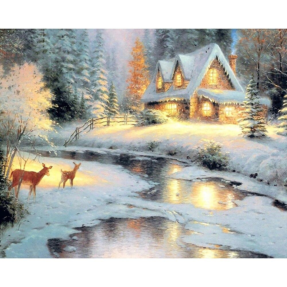 Winter Fawn DIY 5D Cross Stitch Full Square Diamond Painting