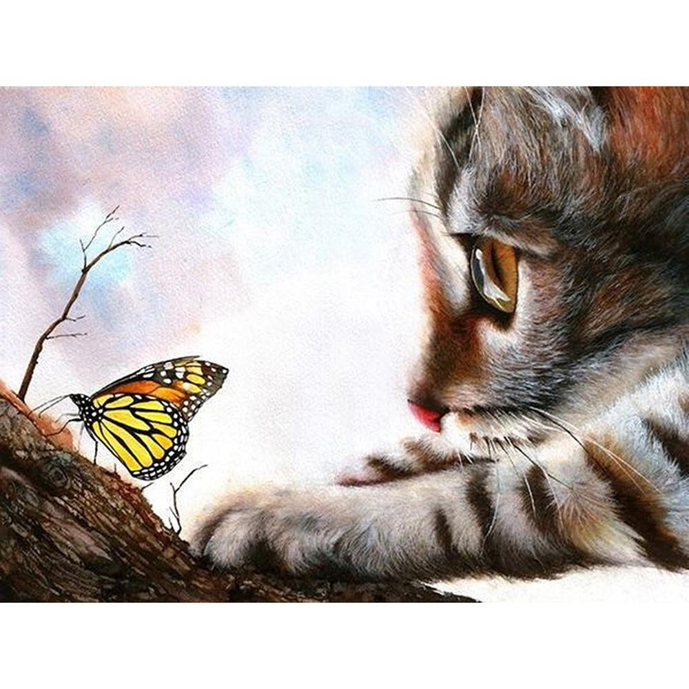 Cat Butterfly DIY 5D Cross Stitch Full Square Diamond Painting