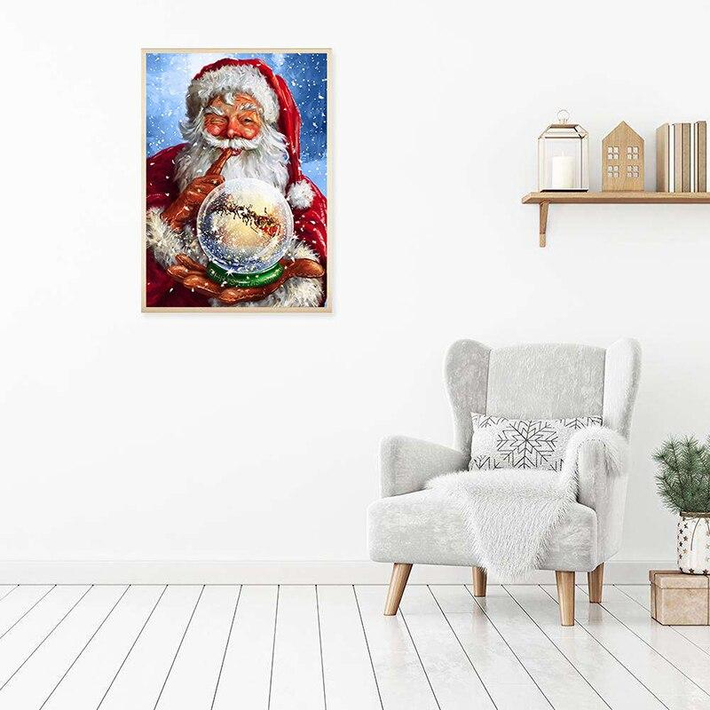 Santa Claus DIY 5D Cross Stitch Full Square Round Diamond Christmas Painting