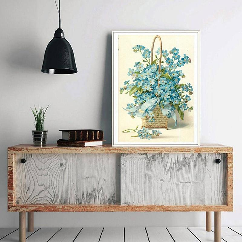 Flower Baskets And Blue Flowers DIY 5D Cross Stitch Full Square Diamond Painting