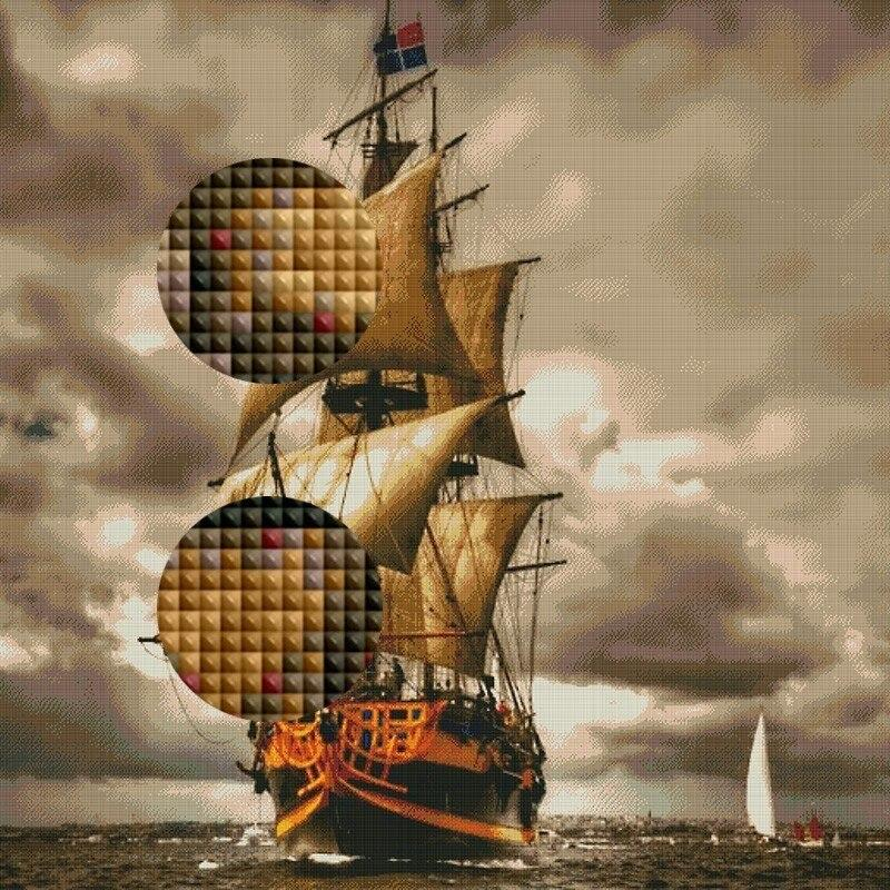 Ship Scenery Pattern DIY 5D Cross Stitch Full Square Round Diamond Painting