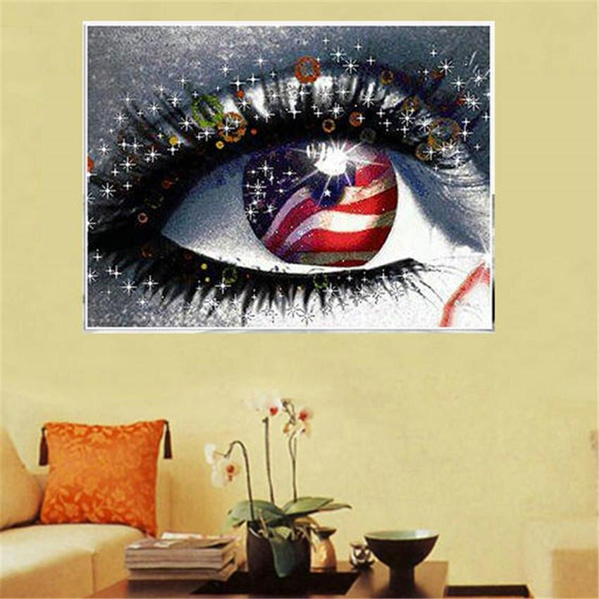 Patriotic Eye American Eye DIY 5D Cross Stitch Full Square Round Diamond Painting